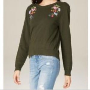 Bebe violets embroidered green zip back sweater Sm